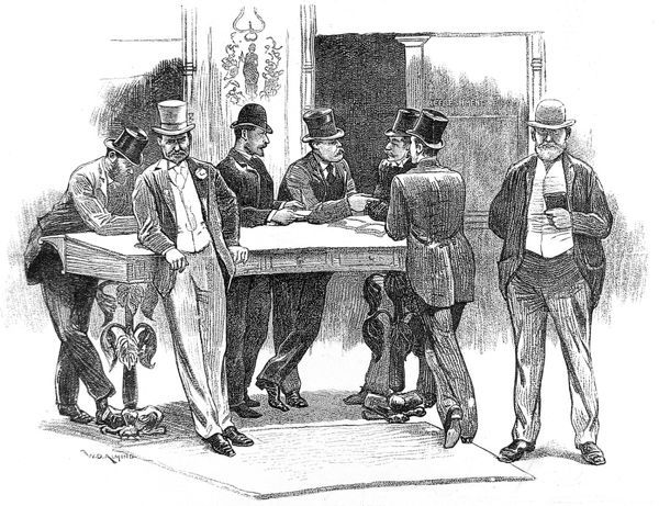 Illustration showing a group of top-hatted traders doing business at the desks of the London Coal Exchange, 1890
