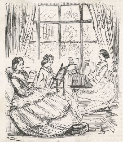 Three young women demonstrating traditional female accomplishments -- reading, embroidery, and playing the piano
