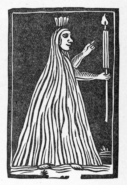 A stereotype ghost : this woodcut was used time after time to illustrate many differentghostly ballads such as 'Sir Thomas Armstrong's ghost&#39
