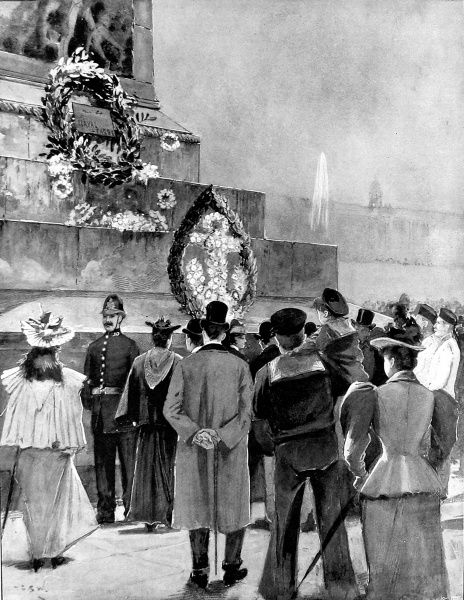 Commemorating the nineteenth anniversary of the victory of the Battle of Trafalgar. Crowds gather round Nelson's column in Trafalgar Square on 21 October 1895. Wreaths are laid on the steps