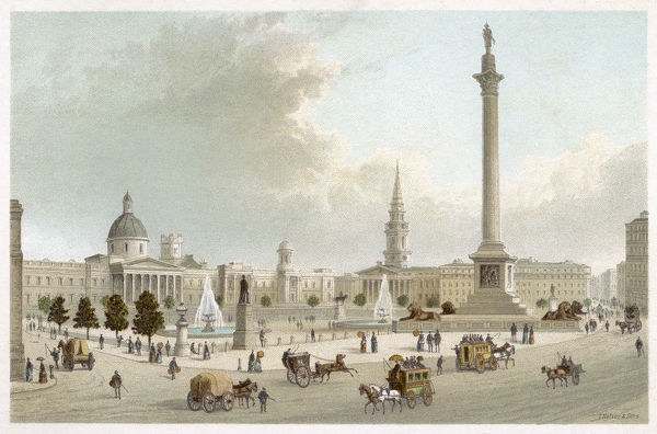 A view of Trafalgar Square looking up towards the National Gallery, showing Nelson's Column, the lions and the fountains