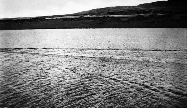 Photographic results from a four week search organised by Sir Edward Mountain into the existence of the Loch Ness Monster. The image shows a trail on the surface of the Loch caused by a creature of considerable size