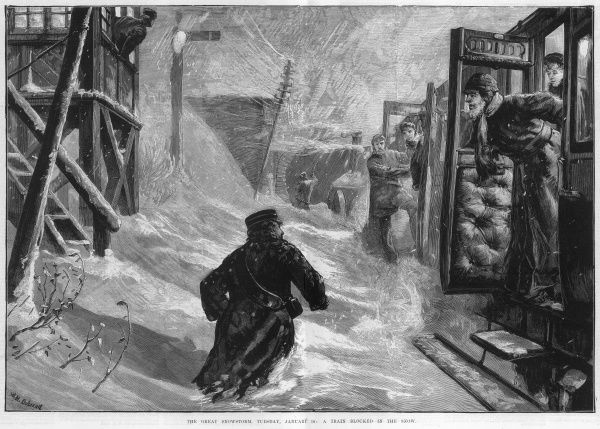 Train passengers discover they are stuck in the snow during the storm of Tuesday 18th January 1881