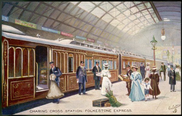 Boarding the Folkestone Express at Charing Cross station