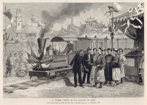The first French railway in China, a Decauville line from Tientsin to Tsching-Yang, is admired by the Chinese authorities