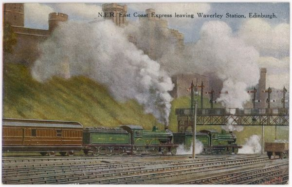 The North Eastern Railway's East Coast Express leaves Waverley Station, Edinburgh, hauled by two powerful locomotives to overcome the