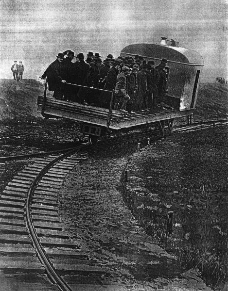 The train that runs on a single rail. The Gyrscopic car invented by Louis Brennan, exhibited at Gillingham in Kent. The 22 ton car was designed to carry 10 to 15 tons, driven by two petrol engines coupled to a 80 h.p electric generator