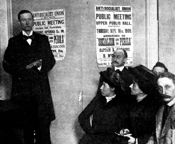 Photograph showing a training meeting of the Anti-Socialist Union of Great Britain, Victoria Street, London, 1909. On the right of the picture is Mr. Blumenfeld, editor of the 'Daily Express' newspaper