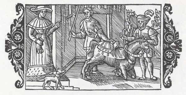 Training a horse to carry a lady: two servants hold the kneeling horse while a woman prepares to ride