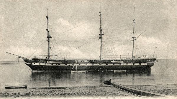 The training ship Arethusa and Chichester operated by the National Refuge for Homeless and Destitute Children, a charity founded in 1843 by William Williams, and later supported by the Earl of Shaftesbury. The ship was moored on the Thames at Greenhithe, Kent