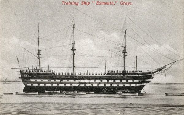 The Training Ship Exmouth, operated from 1876 by the Metropolitan Asylums Board on the River Thames off Grays, Essex