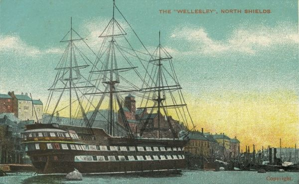 The Training Ship Wellesley moored on the River Tyne at North Shields. The ship, formerly a naval battleship, was one of a number of such vessels in operation. It housed up to 300 boys aged 11 to 14. Its intake included boys from workhouses