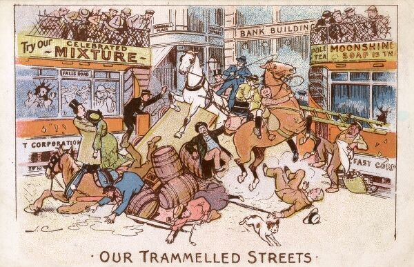"Horses, carts, wagons and pedestrians in an almighty crash involving two trams in Donegal Place in Belfast. The card caption reads: ""Our Trammelled Streets"" Date: 1905"