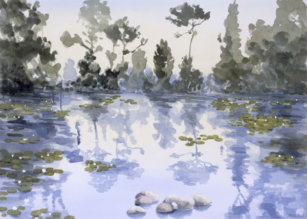 Tranquil Lake - Silent Trees. A clear still blue pond dotted with water lilies. Painting by Malcolm Greensmith