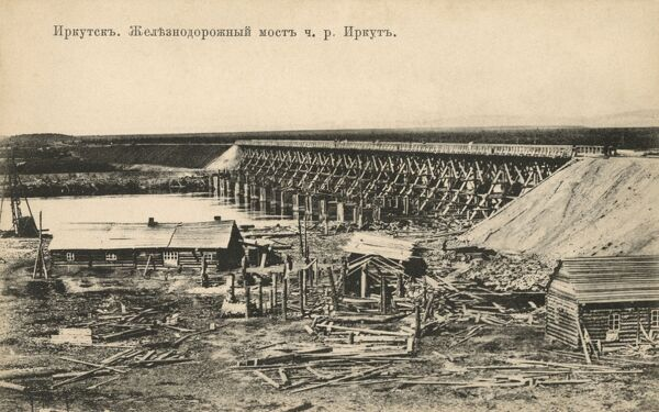 Fine wooden bridge over a river close to Irkutsk (Irkut River?) Date: circa 1910s