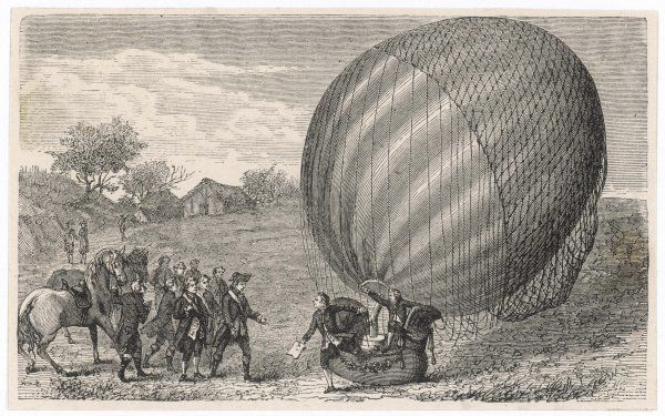 Ballooning pioneers Charles and Robert land at Nesles, France