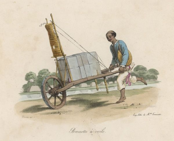 A stonemason transport dressed stone using an ingenious wheelbarrow with a sail to help him speed the materials along to their destination
