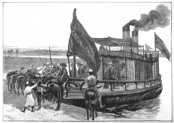 Passengers disembarking from Thomas Cook's steamer 'Masr' on the Nile, to be carried by mules to the sites/sights