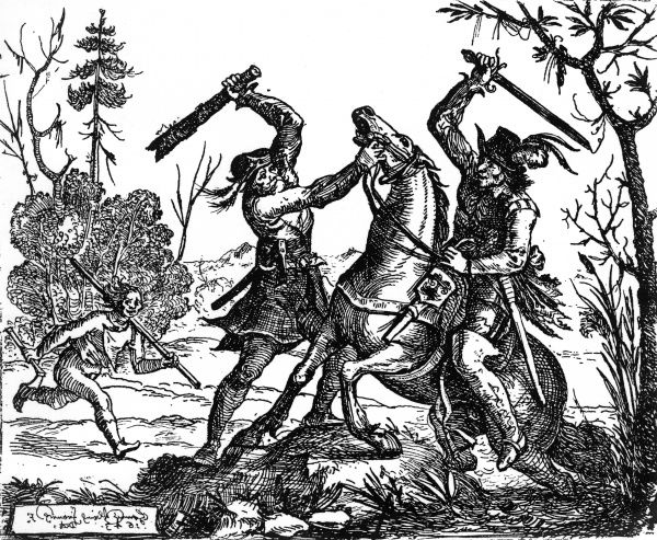 A German bandit attacks a traveller with a bat, while another gang member rushes across with extra supplies including an axe.  17th Century