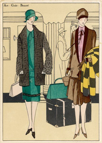 Two ladies dress for travel, one in an ensemble by Jeanny, her companion in an afternoon robe by Douillet