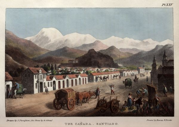 The Canada, a street in Santiago, Chile, South America, with buildings, people and animals.  1824