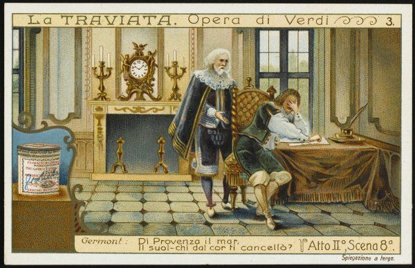 Act two, scene eight : Alfredo's father, Georgio Germont, tries in vain to console him for the loss of Violetta who has nobly renounced him