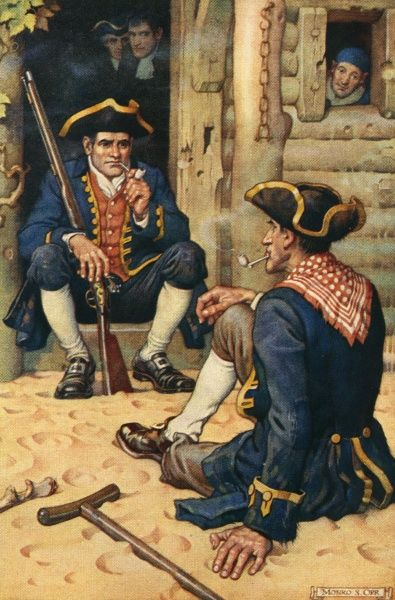 Captain Smollett and Long John Silver. Date: First published: 1883