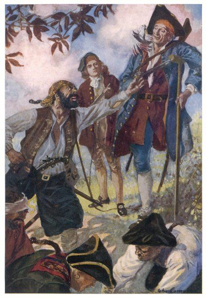 George Merry & his fellow pirates discover that the treasure has gone, much to the amusement of Long John Silver