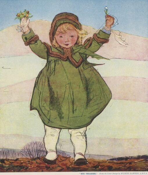 A little girl in a smart, matching green coat and hat holds some tiny flowers aloft, found during a walk on a winter's day