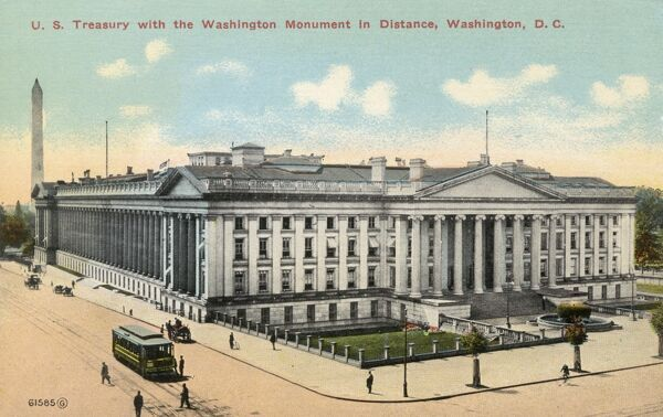 US Treasury - Washington D. C., USA - at the Junction of 15th Street and Pennsylvania Avenue, just eats of the White House. Date: circa 1910