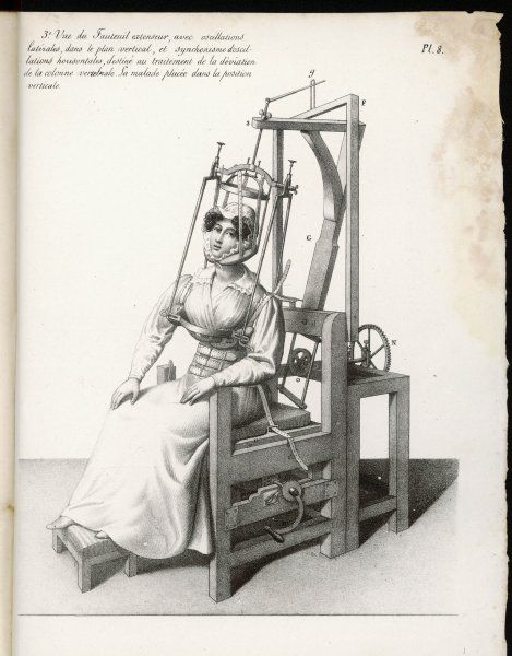 Chair designed to correct deformities of the spine, holding neck and body in any desired position