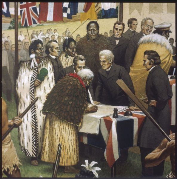 The Treaty of Waitangi: Maori chiefs recognise British sovereignty and New Zealand becomes part of the British Empire. This was designed to guarantee land rights to the Maoris and give them British citizenship
