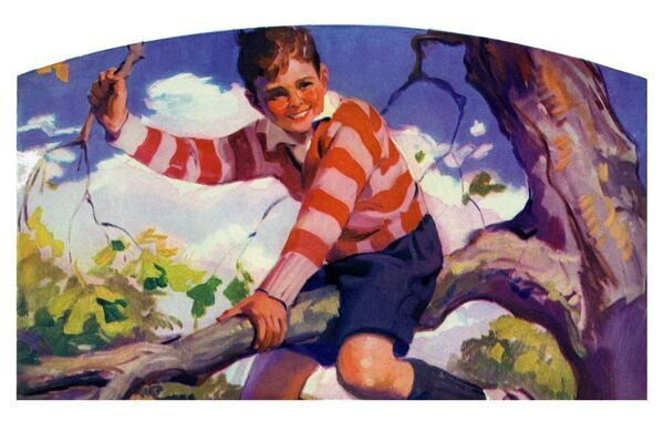 Tree climbing. Illustrator Anon. From a contemporary colour advertisement. Date: 1929