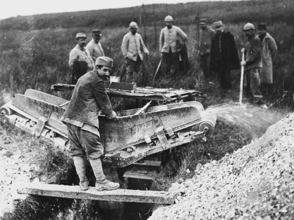 Excavating machine for digging trenches near Grivillers, Somme on the French front during World War I in June 1916