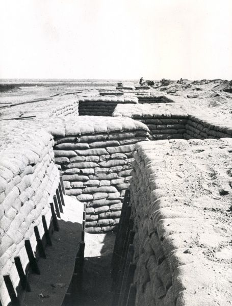 A trench in the Suez Canal defences, Egypt, during the First World War. It was probably at Muhammadiya, where the Scottish Horse dug a new line of trenches. Date: spring 1916