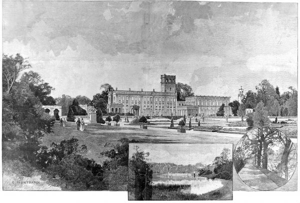 Engraving showing three views of Trentham Hall, Staffordshire, the seat of the Duke of Sutherland, in 1897