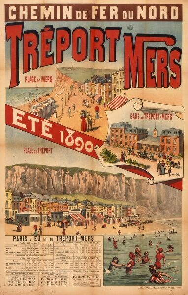 French railway poster advertising Treport Mers on the Picardy coast, which, together with nearby Mer-les-Bains became popular seaside resorts in the 19th century due to the development of the railways