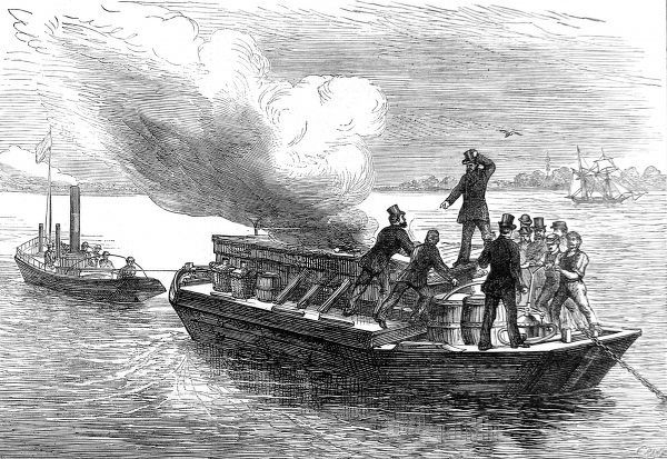 Engraving showing the trial of a fire extinguisher designed for boats, called a 'Pyroleter', on board a barge in the River Thames at Greenhithe, 1875