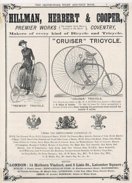 An advertisement for 'Premier' and 'Cruiser' tricycles, manufactured by Hillman, Herbert & Cooper of Coventry