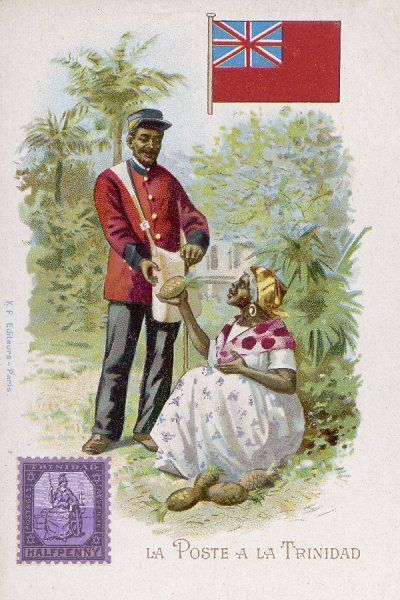 A postman in the (then) British colony of Trinidad is offered a pineapple by a grateful recipient of mail