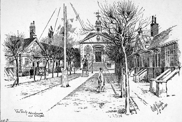 Illustration showing the exterior of the Trinity Almshouses and Chapel in Mile End, London, 1895