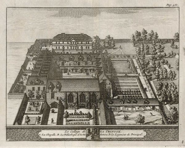 A bird's-eye view of the college showing the chapel, refectory, library, gardens & grounds. One of 39 engravings made of Oxford Colleges by this artist