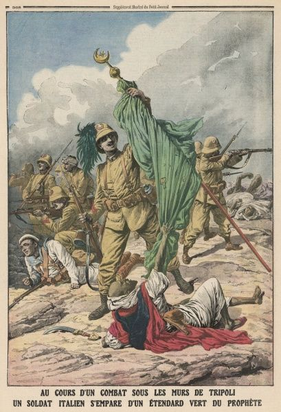 An Italian soldier seizes the the green flag of the Prophet signifying their battle victory, during the Tripolitanian War (1911 - 1912)