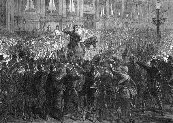 In the streets of Paris, general Trochu rallies the Garde Nationale, after the 'red republican' invasion of the Corps Legislatif in the Hotel de Ville. Date: 4 September 1870