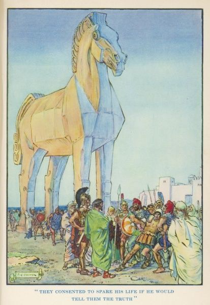 After the death of Hector the Greeks made a huge wooden horse. The Trojans dragged it into Troy, but it was full of Greek soldiers who sacked Troy
