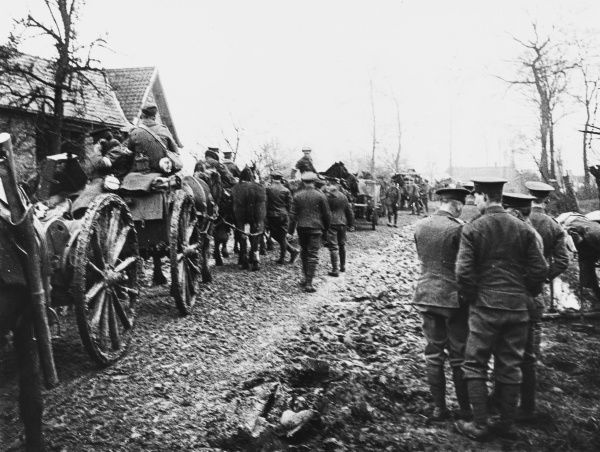 Transport on the Neuve Chapelle Road on the Western Front in France during World War I in March 1915