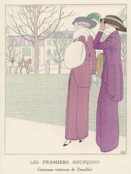 Doeuillet Tailor-mades: Pink: hobble skirt with panels, belted jacket with rounded borders. Purple: jacket with a gored skirt cut shorter at the front. N.B fur muff & stole
