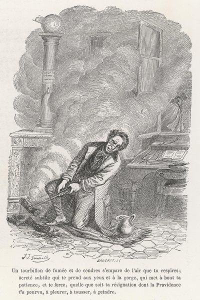 A gentleman having considerable trouble with his fire