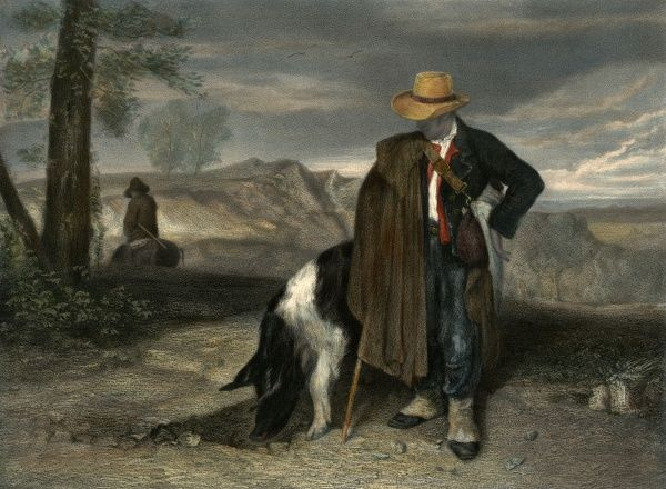 A man with his truffle-hunting pig. Date: 19th century