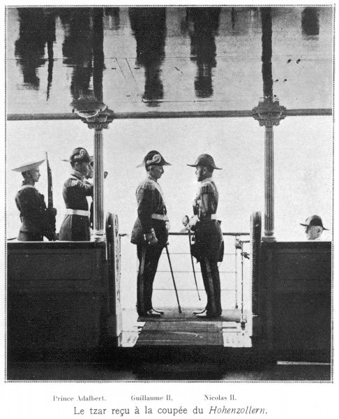 Tsar Nicholas II meeting Kaiser Wilhelm II on board the latter's yacht, the Hohenzollern in 1912. The Kaiser's brother, Adalbert came be seen on the left